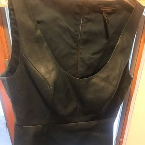 BCBG faux leather tank like top with zipper